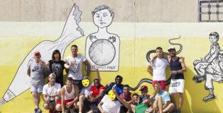 Guerrilla Spam - «MANI IN ALTO!», Secondo murales, Progetto di arte urbana Casa Circondariale di Larino (CB), 2018.