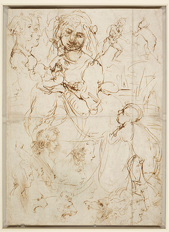 Leonardo da Vinci (Vinci, 1452 - Amboise, 1519) Teste e figure a mezzo busto, viste di profilo. Madonna che allatta il Bambino contro un paesaggio, con san Giovannino. Figura maschile stante. Teste di leone. Un drago (recto). Teste e figure a mezzo busto, una delle quali tagliata a tre quarti (verso) 1478 circa, penna e due diversi inchiostri bruni, mm 405 x 290. Castello di Windsor, Royal Library, The Royal Collection Trust, inv. RCIN 912276 (concesso in prestito da Sua Maestà la Regina Elisabetta II). Royal Collection Trust / © Her Majesty Queen Elizabeth II 2019