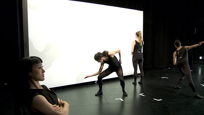 "Cally Spooner - And you were wonderful, on stage, 2013 – 2015. five‐channel HD film installation, single‐channel flat screen monitor, stereo sound, 43'26"". Film Still. Courtesy the artist and EMPAC, The Curtis R. Priem."