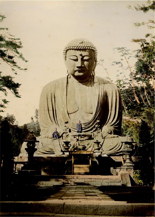 Buddha di Kamakura. Fotografia all'albumina. Periodo Meiji (1868 - 1912)