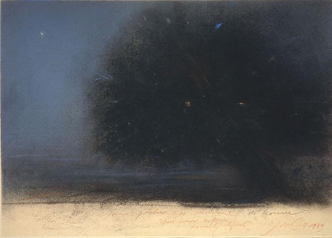 Piero Guccione - Albero del siparietto (cat. 41), 1989, pastello su carta, 33 x 45 cm, Collezione Giuseppe Iannaccone, Milano