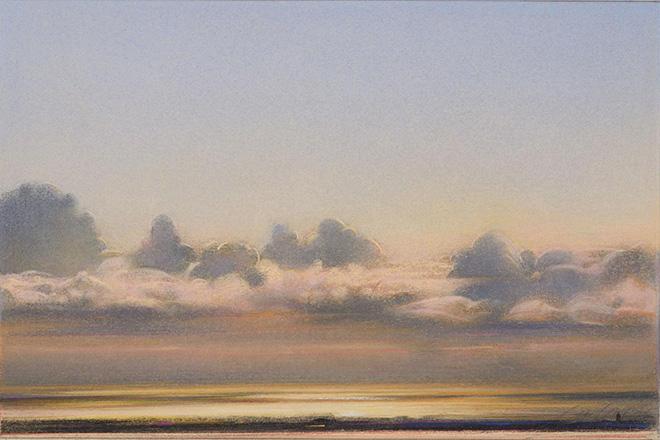 Piero Guccione - Cielo e nuvole a Punta Corvo (cat. 55), 2006, pastello su carta, 62.5 x 67.5 cm, Galerie Claude Bernard, Parigi