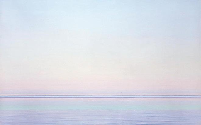 Piero Guccione - Linee del mare (cat. 30), 2006, olio su tela, 70 x 91 cm, Collezione privata