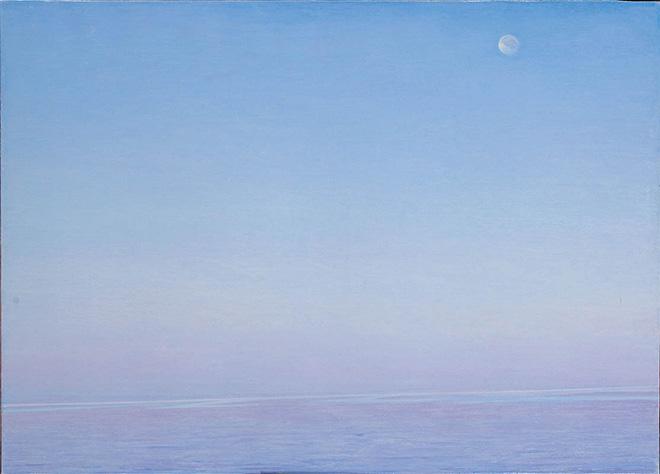 Piero Guccione - Luna d'agosto (cat. 29) - 2005, olio su tela, 76 x 105 cm, Collezione privata, Roma