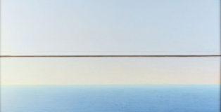 Piero Guccione - Mare a Punta Corvo (cat. 21), 1995-2000, olio su tela, 86 x 113 cm, Collezione privata