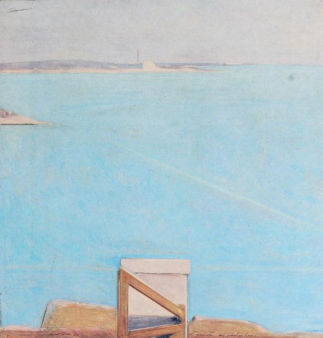 Piero Guccione - Tramonto a Punta Corvo (cat. 4), 1970, olio su tela, 66 x 64 cm, Fondazione Il Gabbiano, Roma