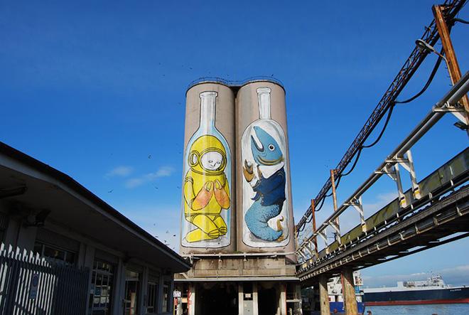 Blu + Ericailcane - Bottles, Silos, Porto di Ancona