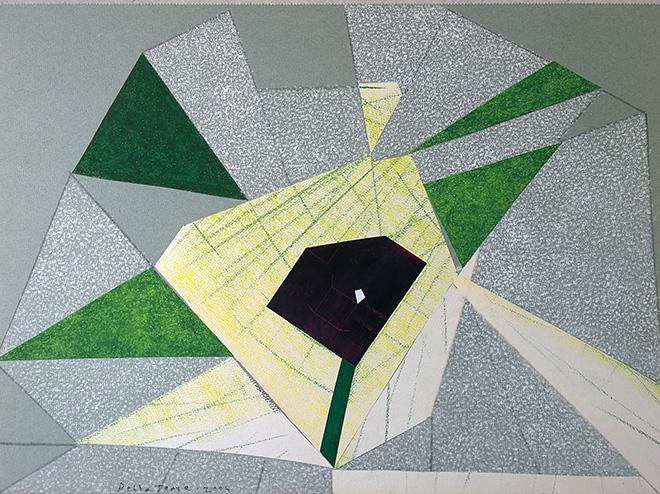 Enrico Della Torre - Primavera, 2004, pastello e collage su carta applicata su tavola, 30x41 cm