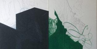 Enrico Della Torre - Paesaggio con costruzione, 2003, pastello e grafite su carta applicata su tavola, 31,5x44,5 cm
