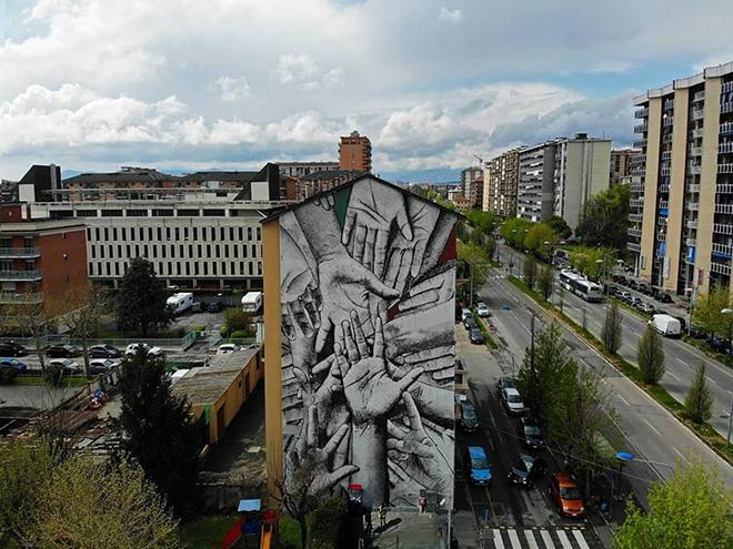 Himed&Reyben - ¡NO PASARAN!, murale per Collegno SI-CURA, Torino, 2019. photo credit: @andrea__ferrero