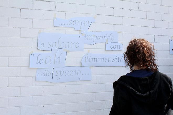 OPIEMME - Pianeti di lettere (dettaglio work in progress), 2019, Muro  20x30, workshop di Opiemme presso il Liceo Giordano Bruno (Roma),  photo credit: Elena Paloscia.