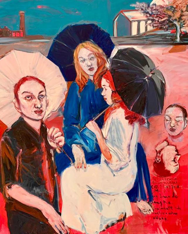 Carlos Quintana, Tre ombrelli, 2018. Olio su tela, 150x182