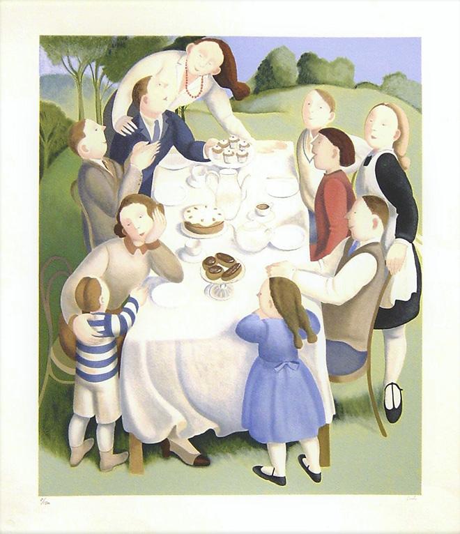 Marta Czok - Il tè in giardino, Serigrafia cm. 70x60