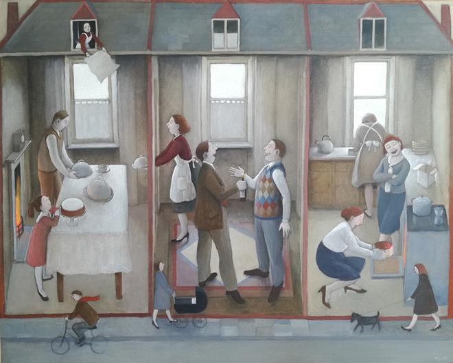 Marta Czok - Interno con ospiti, acrilico e grafite su tela, cm 40x50