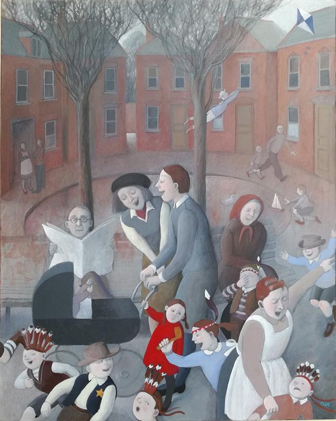 Marta Czok - Park, acrilico e grafite su tela, cm 50x40
