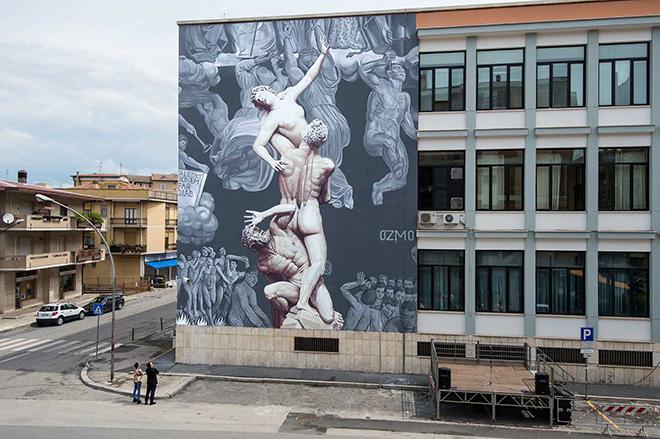 """OZMO – """"Al suono delle trombe"""". Rieti: murale sul Tribunale"""