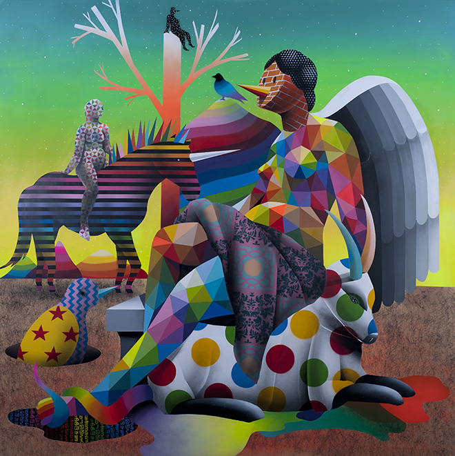 Okuda - The misterius knight of God's garden, 2017, 200x200 cm.