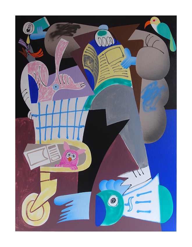 Sawe - Scrap dealer, 2019, 130x97 cm. acrylic spray paint and marker of solid paint based oil on canvas