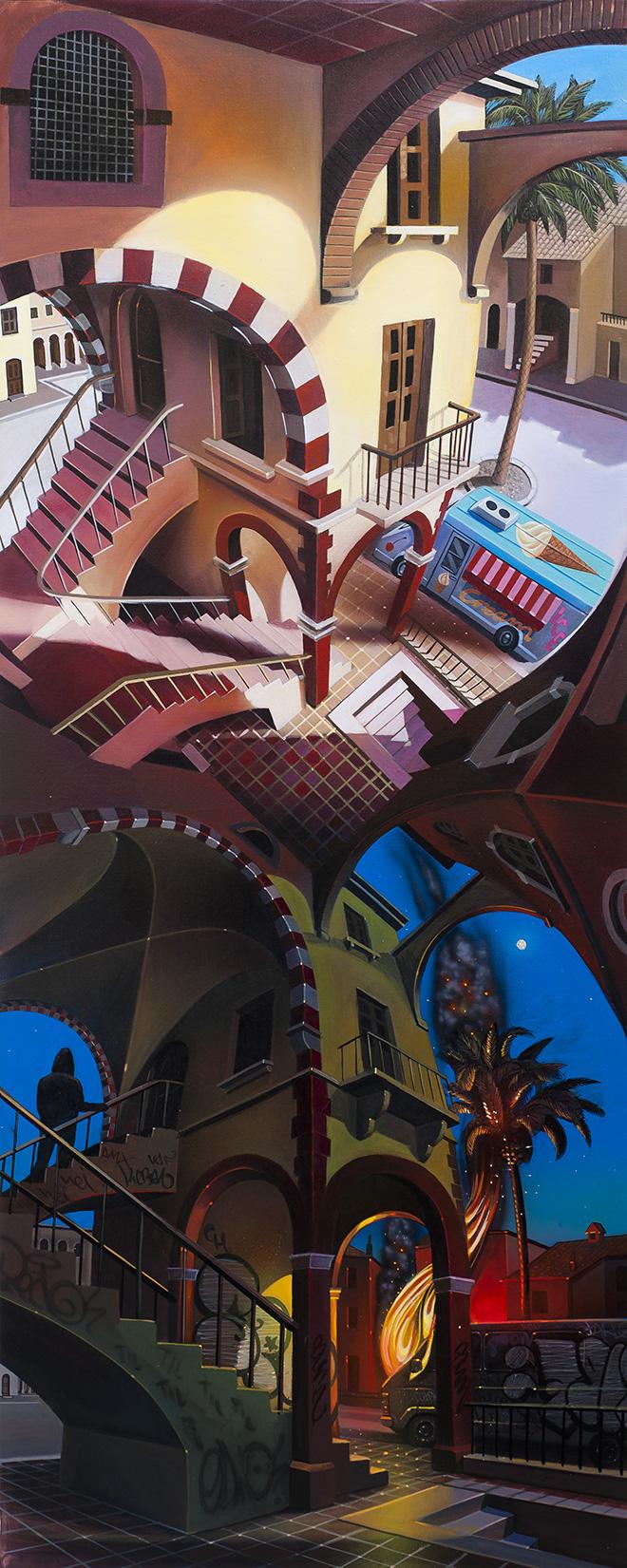 Spok Brillor - Duelo, 2017, acrylic on canvas, 162x65 cm.
