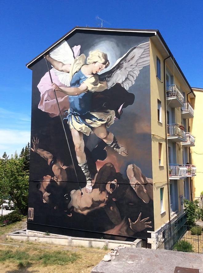 Andrea Ravo Mattoni - San Michele Arcangelo, ImbrARTiamo - Street art e Misteri. Riproduzione dell'opera di Luca GIORDANO,