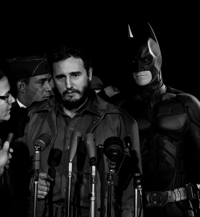 GAN HARAHAP - Batman with Fidel Castro as he arrives in Washington DC