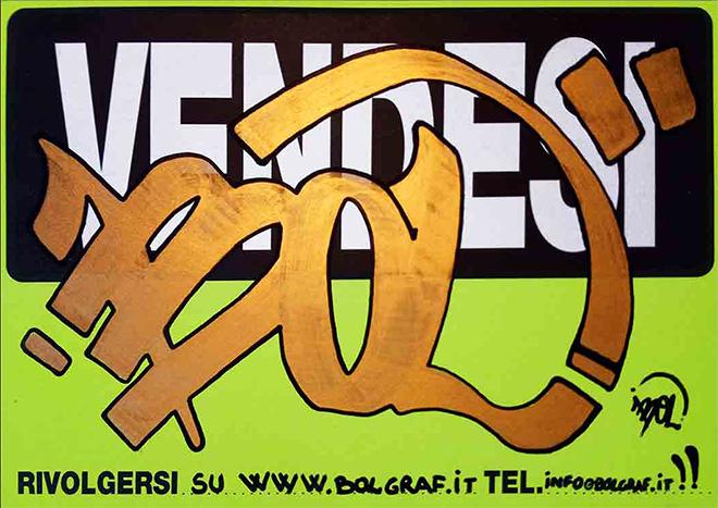 BOL (Pietro Maiozzi) - OPERA n. 228, inchiostro oro ed acrilico nero su cartoncino serigrafato nero su fondo gialloverde fluo, 600gr, dimensioni 21x29,7cm