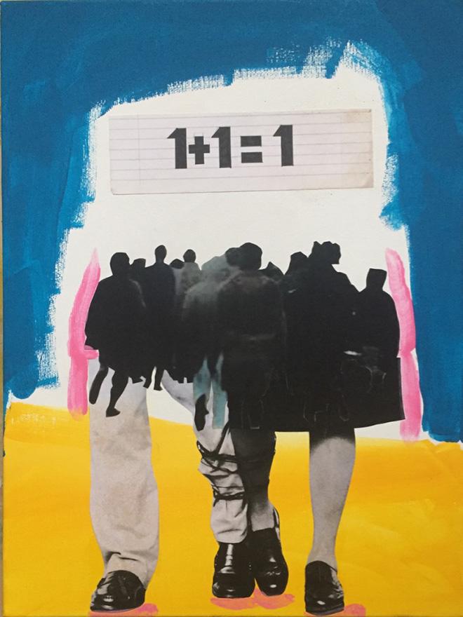 Daniela Di Lullo - 1+1=1, 2019, Pittura acrilica e collage su tela, 30X40