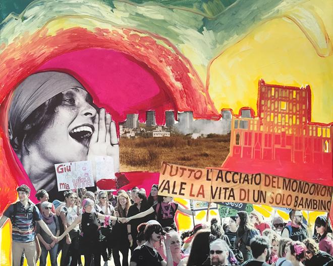 Daniela Di Lullo - Tutto l'acciaio del mondo non vale la vita di un solo bambino, 2019, 50X40, Pittura a olio e collage su tela.