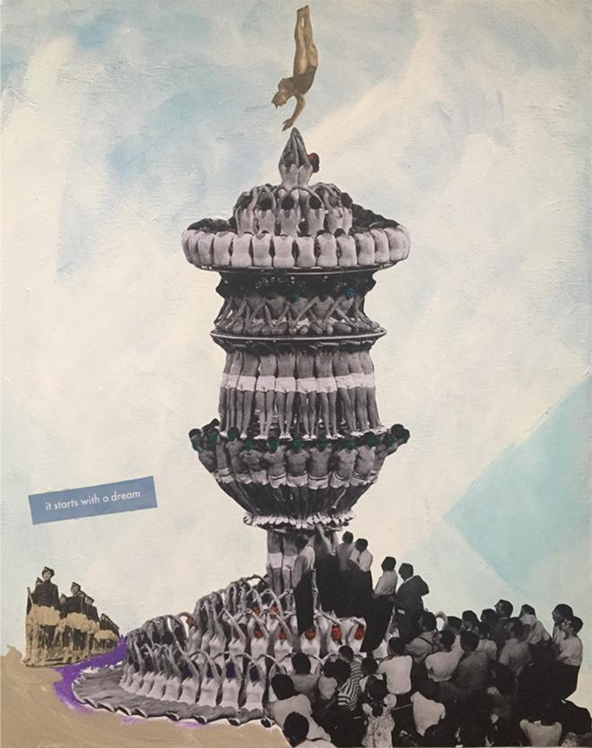 Daniela Di Lullo - It starts with a dream, Pittura acrilica e collage su tela, 50 x 40, 2019