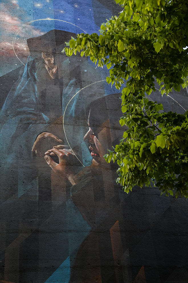Vesod - Compianto, tra spirito e materia, murale a Padova sulla torretta idrica di Viale Codalunga. photo credit: Alen De Cesare