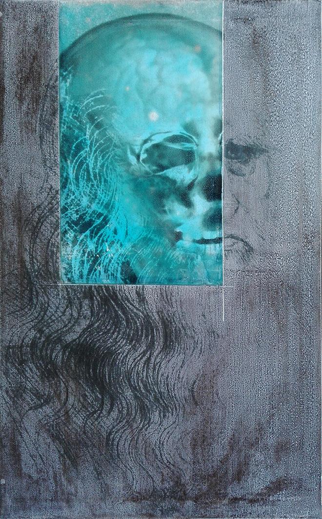 Renato Meneghetti - Grandi Maestri/ Leonardo, Autoritratto, 2010. Alcohol and resin on pigmented canvas. 100 x 62 cm (39.4 x 24.4 in)