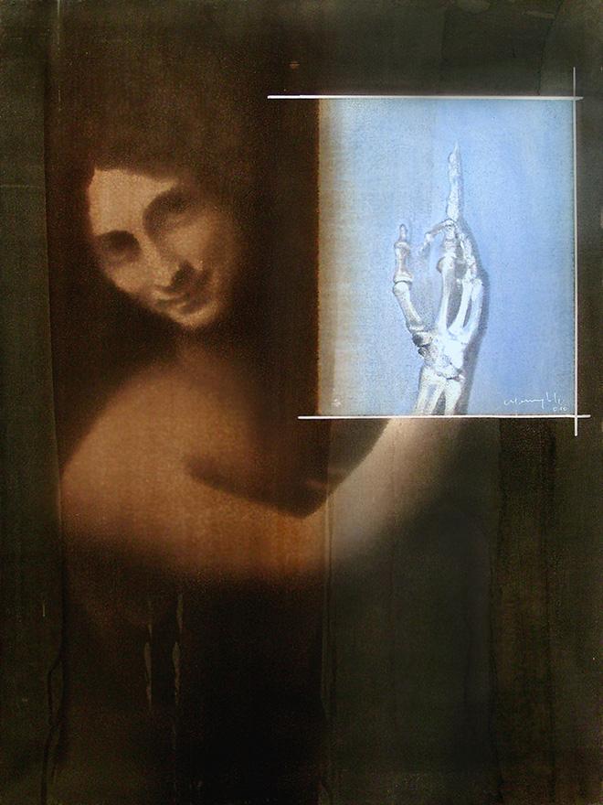 Renato Meneghetti - Grandi Maestri/Leonardo, San Giovanni Battista, 2010. Alcohol on pigmented canvas. 80 x 60 cm (31.5 x 23.6 in)