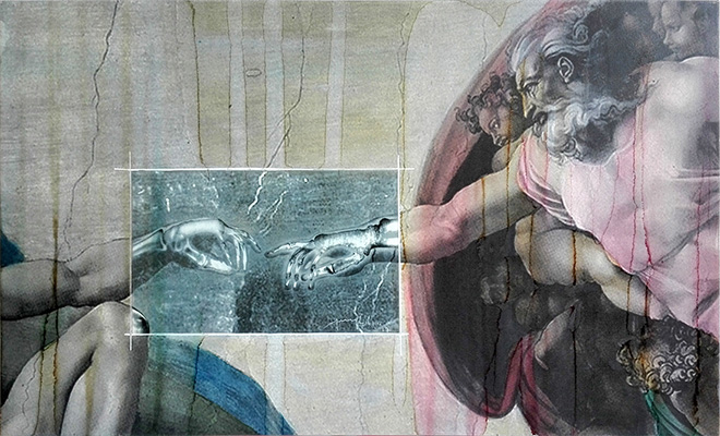 Renato Meneghetti - Grandi Maestri/ Michelangelo, Creazione di Adamo, 2017. Alcohol on pigmented canvas. 60 x 99 cm (23.6 x 39.0 in)