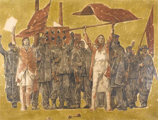 Adolf Žábranský - Febbraio, 1948, cartone del Ciclo Tradizione rivoluzionaria dei nostri uomini VI, 1972 - 81