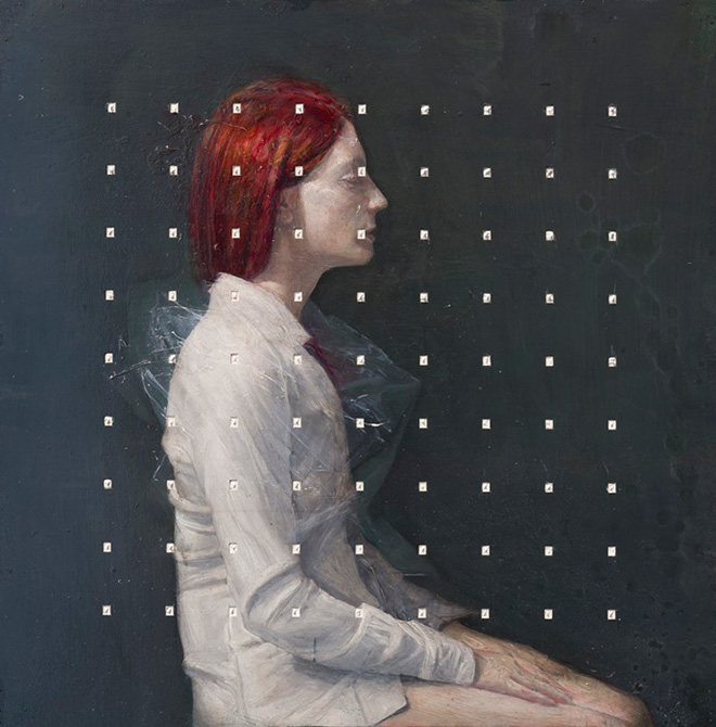 Andrea Mariconti - Kanon 1, cm 80x80, tecnica mista su tela.