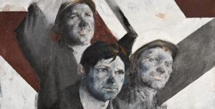 Martin Sladk - Tre minatori, fine anni '60, olio su tela