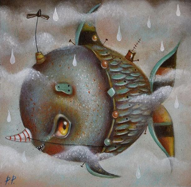 Paolo Petrangeli - Bartolomeo, il pesce volante, oil on paper, 15x15 cm