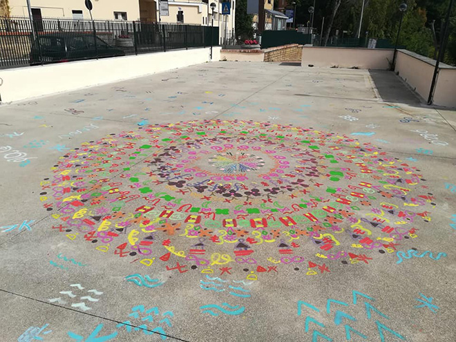 OLTRE IL MURO - I bambini e la street art, Mandala, pista di pattinaggio, Castelnuovo di Porto