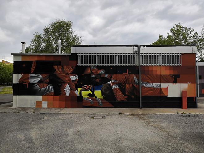 Psiko - Murale, sede di CGIL-SPI e APE, viale Krasnodar, Ferrara