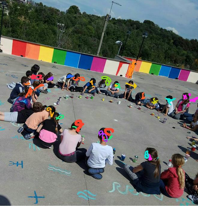 OLTRE IL MURO - I bambini e la street art, Mandala cooperativo, Castelnuovo di Porto