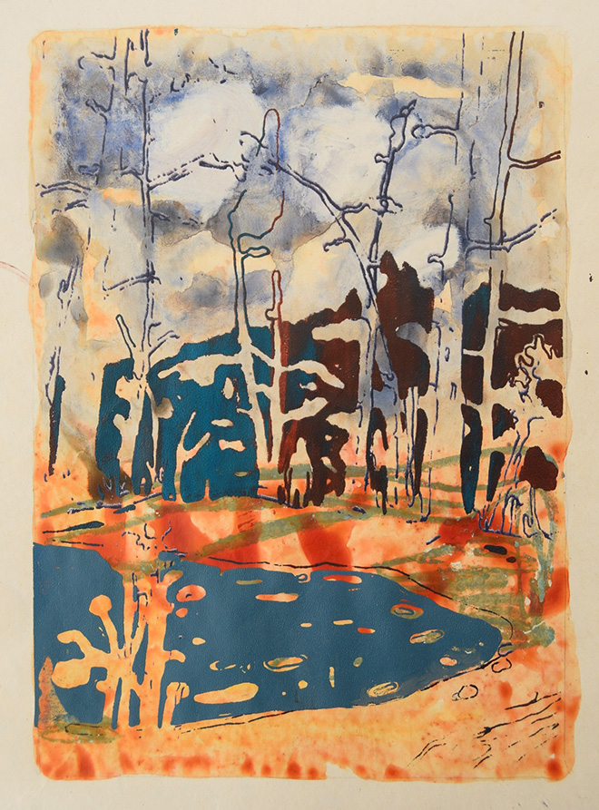 Agnese Skujina, Ritorno 2, 2019, tecnica mista su carta, 20x15