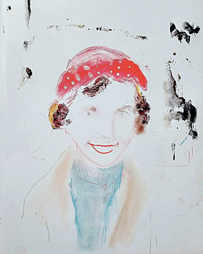 Elisa Filomena, Sylvia P., tecnica mista su carta, cm 50x40, 2019.