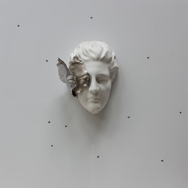 Michelangelo Galliani - Constellation, 2018 Statuario marble from Carrara, steel and polycarbonate. 95 x 95 x 22 cm (37.4 x 37.4 x 8.7 in)- Contini Contemporary