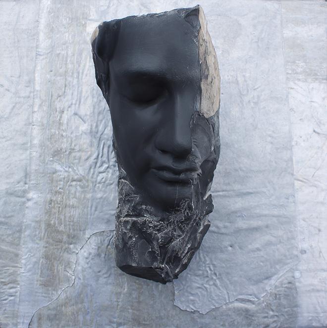 Michelangelo Galliani - Sotto la tua pelle, 2014. Black Belgian Marble and Lead cm 35x35x15 - Contini Contemporary
