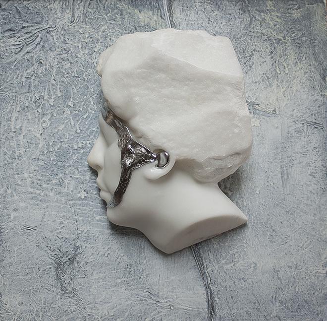Michelangelo Galliani - White silver, 2017. Statuario Carrara Marble, Steel and Lead cm 35x35- Contini Contemporary