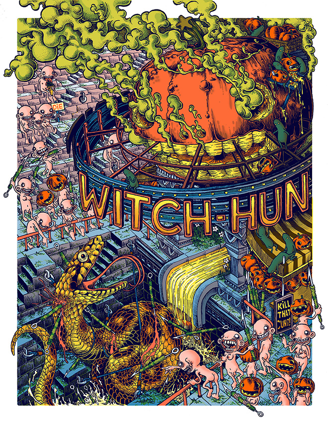 Carles G.O'D. - Witchhunt, serigrafia 70x100