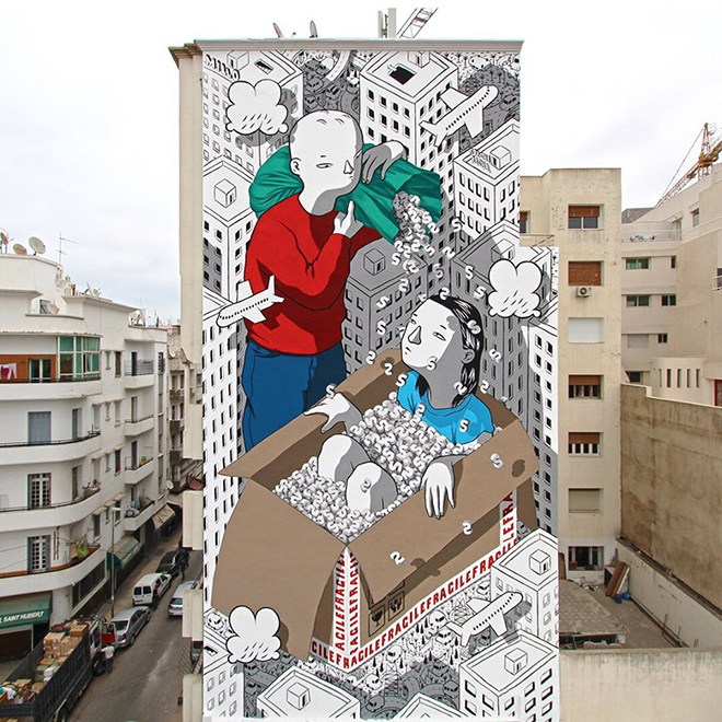 Millo - Handle with care. Sbagha Bagha festival, Casablanca (Marocco), 2019. photo credit: ©Millo.