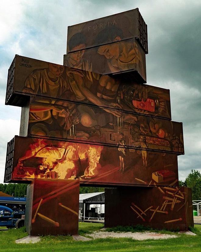 Milu Correch - North West Walls 2019, Werchter (Belgium), Container Graffiti