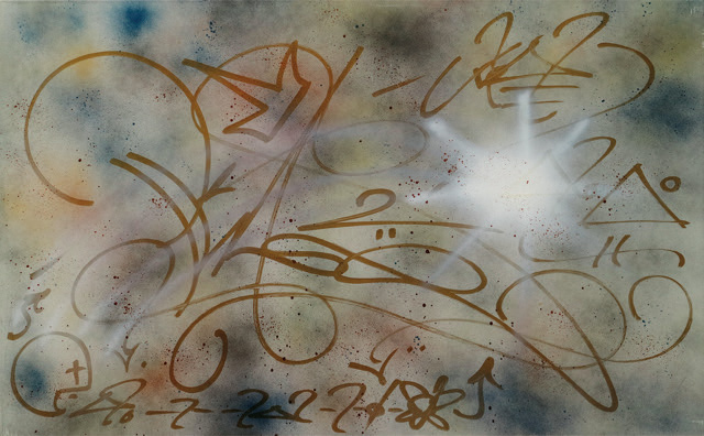Phase2 - cm 60X97, spray e pennarello su metallo, 1984