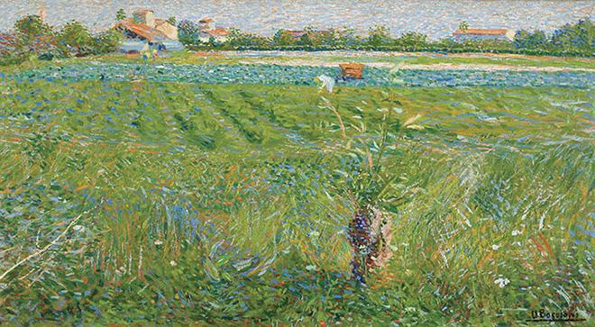 Umberto Boccioni - Paesaggio lombardo, 1908. Olio su tela, 36 x 66 cm. MASI Lugano, Collezione Città di Lugano. Donazione Chiattone